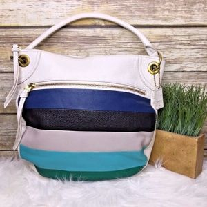 Fossil Karli White Leather Color Block Striped Bag